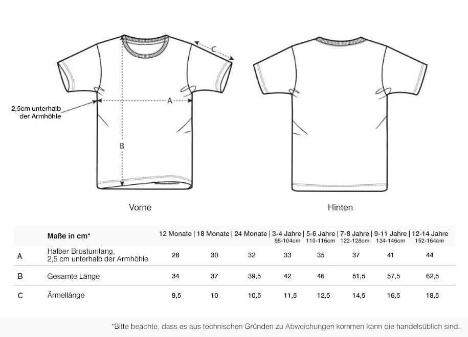 Größentabelle T-Shirt Kids