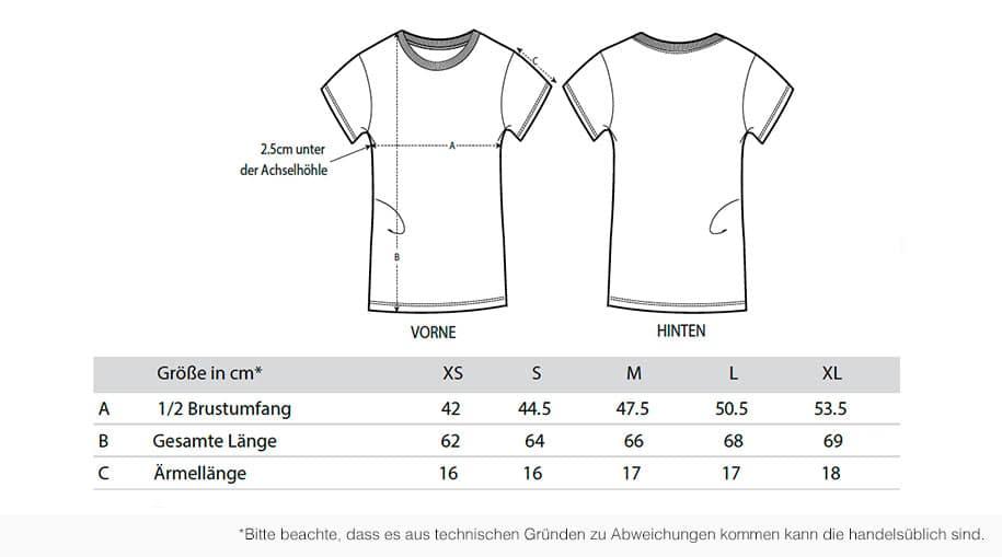 Größentabelle T-Shirt Women
